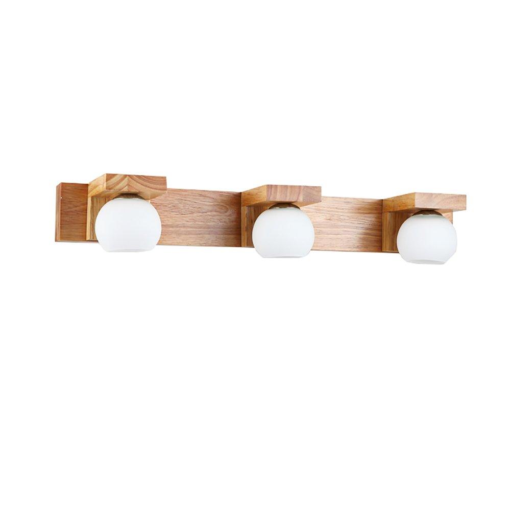 badezimmerlampe Massivholz-Spiegel-vordere Lichter, Badezimmer Einfache Wand-Lampe Kreative Abricht-Wand-Lichter Wasserdichte Eitelkeit-Lichter, Weiß, G4 Lampen-Korne Schminklicht