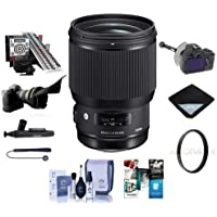 Sigma 85mm f/1.4 DG HSM ART Lens for Sigma DSLRs - Bundle With 86mm UV Filter, LensAlign MkII Focus Calibration System, FocusShifter DSLR Follow Focus Software Package, Flex Lens Shade, And More