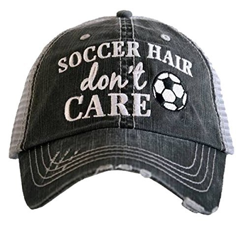 Katydid Soccer Hair Don't Care Women's Distressed Trucker Hat (Soccer Hat)