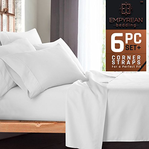 "Premium 6-Piece Bed Sheet & Pillow Case Set – Luxurious & Soft Cal King Size Linen, Extra Deep Pocket Super Fit Fitted White Sheets, Bedroom Essentials BONUS 2 Pillowcases & ""Better Sleep Guide"""