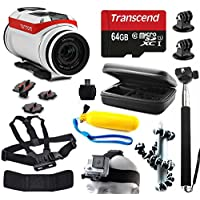 TomTom Bandit 4K HD Action Camera with 11 Piece Accessories Bundle includes 64GB Card + Selfie Stick + Case + Head/Chest Strap + Floating Handle + Octopus Tripod + Card Reader + More