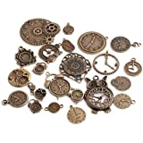 TOOGOO(R) 20pcs Vintage Metal Zinc Alloy Mixed Clock Pendant Charms Steampunk Clock Charms for Diy Jewelry Making bronze