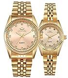 Couple Watches Swiss Brand Golden Watch Men Women Stainless Steel Waterproof Quartz Watch Gift Set (Gold)