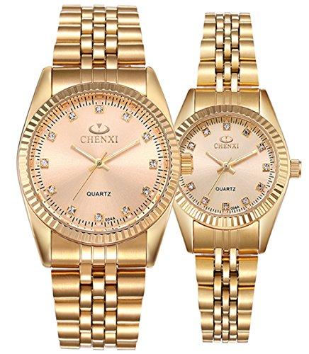Couple Watches Swiss Brand Golden Watch Men Women Stainless Steel Waterproof Quartz Watch Gift Set (Stainless Steel Couple Watches)