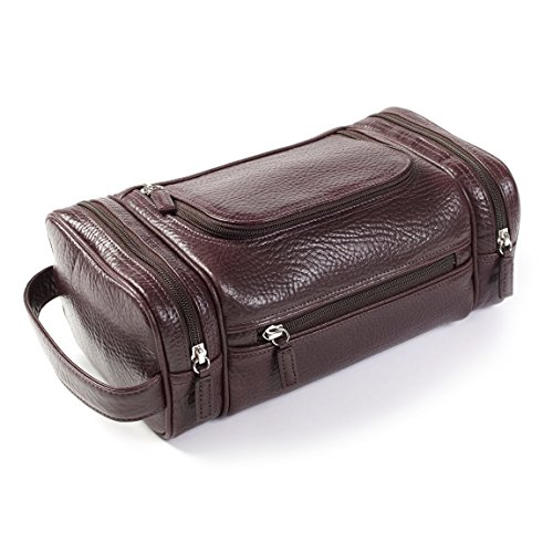 Multi Pocket Toiletry Bag - Italian Leather - Espresso (brown) by Leatherology