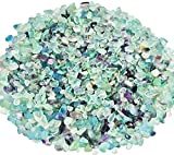 Zungtin 450g Flourite polished Chips Stone,Crushed Crystal Quartz Pieces,Irregular Shaped Stones