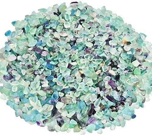 Zungtin 450g Flourite polished Chips Stone,Crushed Crystal Quartz Pieces,Irregular Shaped Stones