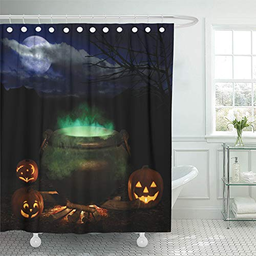 Emvency Shower Curtain Set Waterproof Adjustable Polyester Fabric Halloween Night Bubbling Iron Cauldron Orange Pumpkin Jack O Lanterns and Full 66 x 72 Inches Set with Hooks for Bathroom