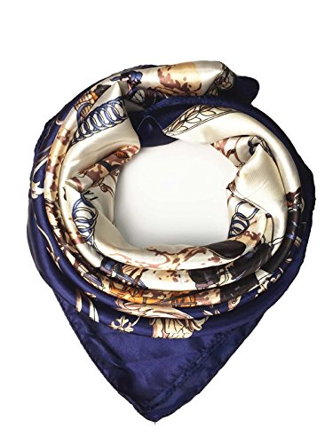 YOUR SMILE Silk Like Scarf Women's Fashion Pattern Large Square Satin Headscarf Headdress coach carriage (10) ()
