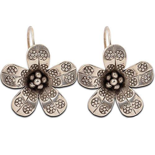 Beautiful Hand made Earring Flower Karen Hill tribe Pure Silver