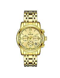 WWOOR Relojes Hombre Relojes de Pulsera Cuarzo Analógico Reloj Acero Inoxidable Hombre Cronógrafo Reloj Timer