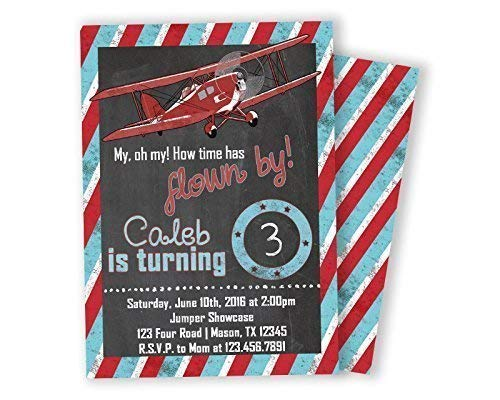 Image Unavailable Not Available For Color Vintage Airplane Invitations Boy Birthday