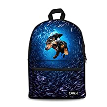 HUGSIDEA Funny Cute Dachshund Book Bags for Childen Studen Solid Laptop Backpack