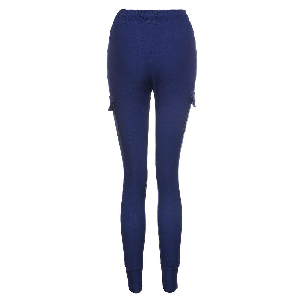 LUXISDE Trousers for Women High Waisted Solid Streetwear Casual Loose Elastic Trousers Pockets Full Pants(Navy,M) by LUXISDE (Image #5)