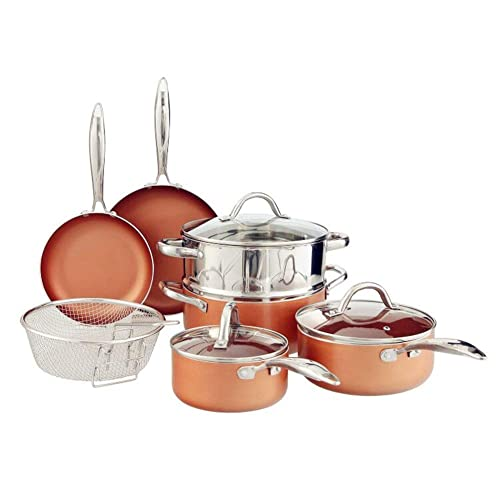 Benecook 10-Piece Nonstick Copper Cookware Set, Dishwasher Safe