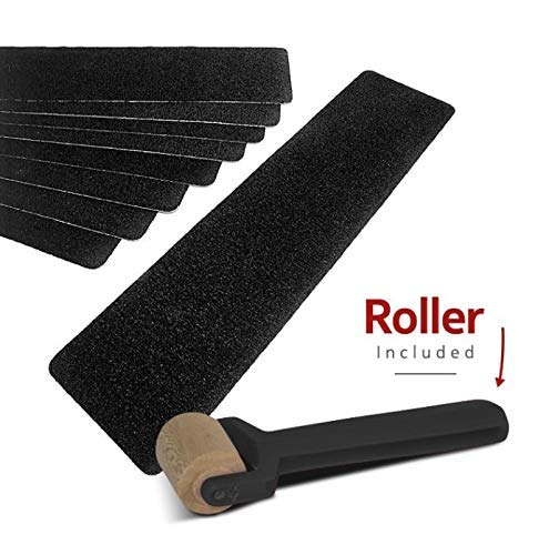 Non-Slip Black Stair Treads (5 Pack), Strong Adhesive Heavy Duty 80 Grit, Pre-Cut Commercial Grade, 6in x 24in Premium Quality Slip Resistant. Rounded Corners. Roller Included.