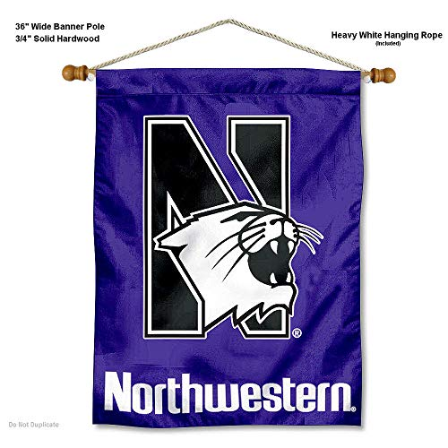 (College Flags and Banners Co. Northwestern Wildcats Banner with Hanging Pole)