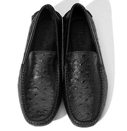 Happyshop (tm) Mens Falska Struts Läder Ventilerat Mockasin Slip-on Penny Loafers Mode Sneakers Lägenheter Svart