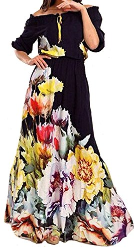 Womens Off The Shoulder Floral Print Long Maxi Dress Party Club Cocktail Maxi Dress