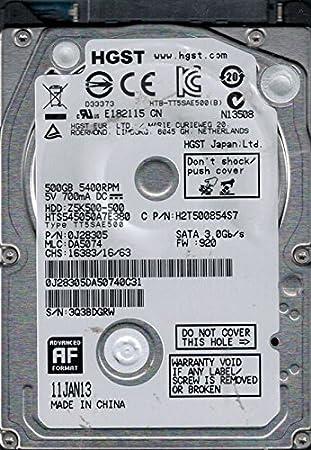 HTS545050A7E380 P//N DA5074 HGST 500GB 0J28305 MLC