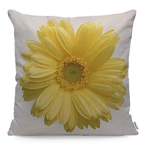 WONDERTIFY Throw Pillow Case Cover Yellow Flower Sunflower White Background - Soft Linen Pillow Case for Decorative Bedroom/Livingroom/Sofa/Farm House - Couch Pillow Cushion Covers 18x18 Inch