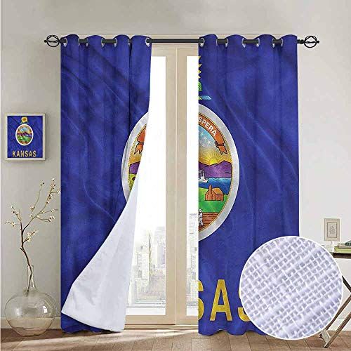 (NUOMANAN Pattern Curtains American,State Flag Kansas Farming,Living Room and Bedroom Multicolor Printed Curtain Sets 52