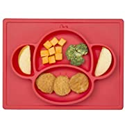 Nuby Sure Grip Monkey Silicone Placemat, Red