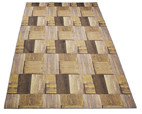 Nature Inspired Printed Area Rug Slip Resistant TPR Rubber Back Exotic Patterns (Hardwood Brown Taupe, 4