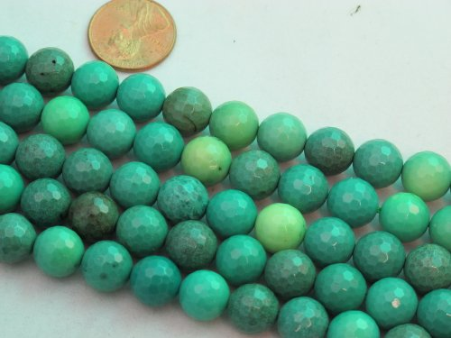 BRCbeads Green Chrysoprase Beads Gemstone 10mm Facted Round 15.5