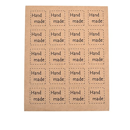 BCP 200-Pieces Square Hand Made Kraft Paper Stickers Baked Goods label, Wedding Favor Tag Toppers, Bonbonniere Favor Gift Tags