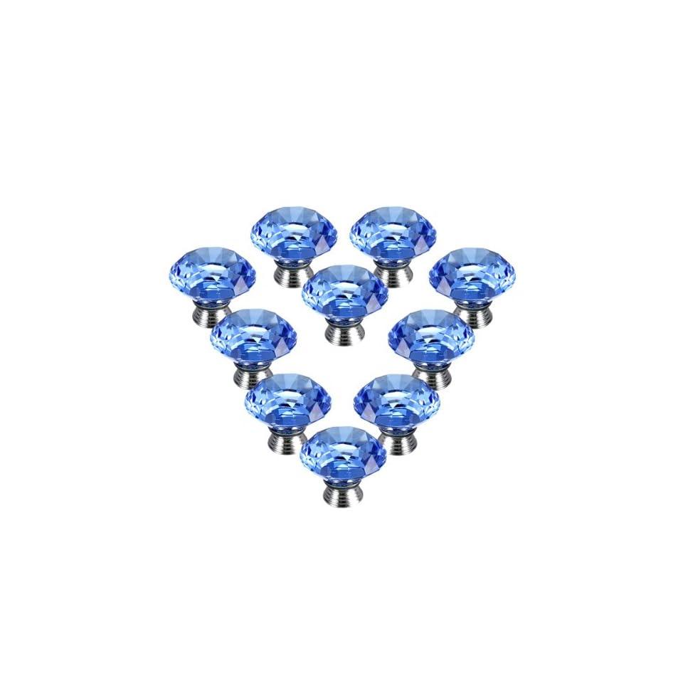 10PCS 40mm Crystal Glass Diamond Shape Cabinet Knob Cupboard Drawer Pull Handle