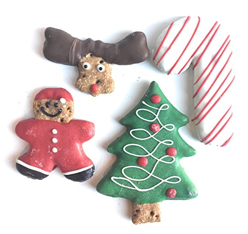 Christmas Holiday Dog Treats with Gift Bag Gourmet Cookie Biscuits,Homemade with Yogurt Icing (4 Premium Treats)