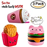 CETIM 3 Pack Jumbo Slowing Rising Kawaii Squishies, Cat Hamburger, French Fries and Coffee Cup Set, Sweet Scented Squishy for Kids Party, Stress Relief Toy (fries)