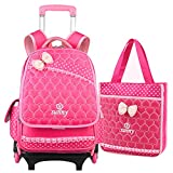 Boys Girls Rolling School Backpacks - Kids Trolley Schoolbag 2 Pieces Hangbag Waterproof Primary Student Bag Outdoor Travelling Nylon Kids Luggage with Removable Pull Rod