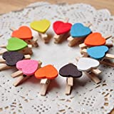 Samant Mini Wooden Heart Photo Clips With Rope Multicolor, 11 X 10 X 0.5 Cm (Pack Of 10Pcs)