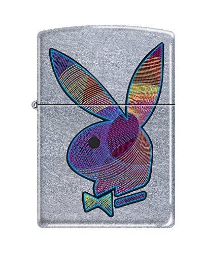 Zippo Playboy Colored Bunny Pocket Lighter, Street Chrome