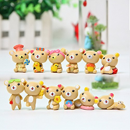 Meiyiu Mini Resin Bear Doll Miniature Garden Terrarium Bonsai Decor Crafts Baby Toys 12pcs/lot Light Brown from Meiyiu