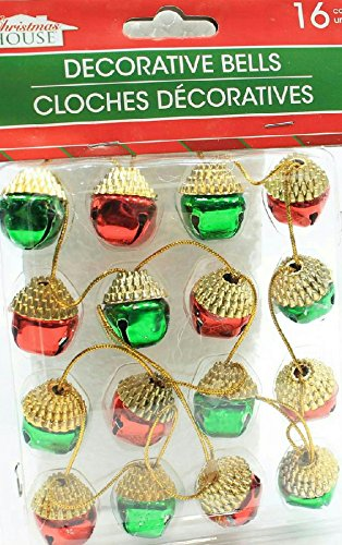 (Pack of 2) 16 Christmas House Ornament Acorn Shaped Decorative Jingle Bells (Red & Green) by Christmas House (Image #4)