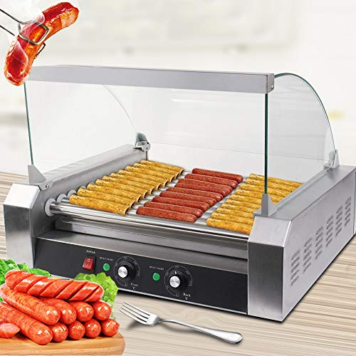 Safstar Commercial 30 Hot Dog 11 Roller Machine Stainless Steel Non Stick Electric Hotdogs Grilling Cooker Appliances with Cover (1 Pack)