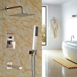 Rozin Brushed Nickel 3-way Mixer Control 10'' Square Rain Shower Set Tub Spout Tap with Hand Sprayer