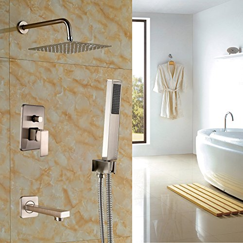 Rozin Brushed Nickel 3-way Mixer Control 10'' Square Rain Shower Set Tub Spout Tap with Hand Sprayer by Rozin