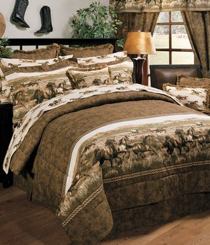 Wild Horses Queen 13 Pc Bedding Set (Comforter, 1 Flat Sheet, 1 Fitted Sheet, 2 Pillow Cases , 2 Shams , 1 Bedskirt, 1 Valance/Drape Set) - SAVE BIG ON (Wild Horses Standard Sham)