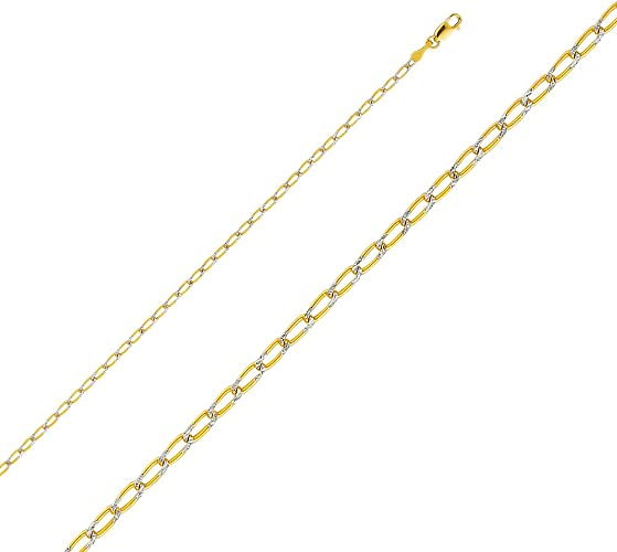 14K Yellow OR White Solid Gold 2.7mm Cuban Chain Necklace with Lobster Clasp Ioka