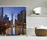 City Scene Shower Curtain Ambesonne Contemporary Urban Cityscapes Americana Decor Collection, Chicago Riverside Bridge Scene Modern USA Boho City Prints, Polyester Fabric Bathroom Shower Curtain Set with Hooks