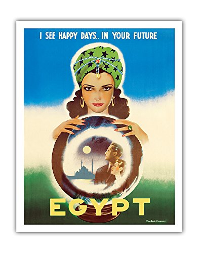 Egypt - I See Happy Days. in Your Future - Egyptian Fortune Teller - Vintage World Travel Poster by Rachad Manassa c.1960 - Fine Art Print - 11in x 14in