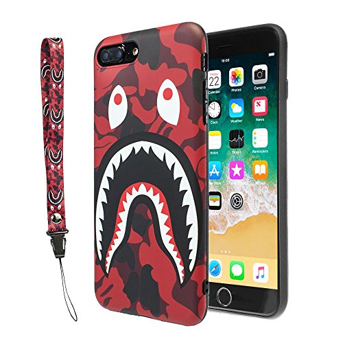 iPhone 7/8 Plus Shark Face Case Street Fashion: Luxury Flexible Durable Designer Protective TPU Cover/Bumper / Skin/Cushion with Wrist Strap only for 5.5 iPhone 7 Plus / 8 Plus (Camo Red)