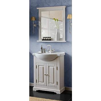 Badezimmermöbel 65cm Keramik Waschtisch m Unterschrank Vintage Pine Gäste Bad WC
