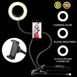 Selfie Ring Light with Cell Phone Holder for All Smart Phone, 360 Rotating 3-Light Mode 9-Level Brightness Flexible Arms Gooseneck Mount Lazy Bracket with LED Selfie Light for Bedroom Office Kitchen