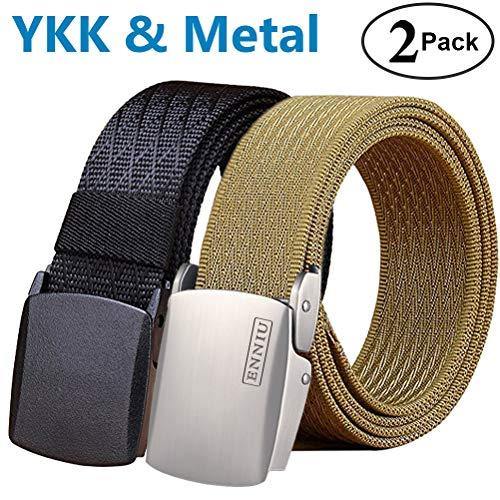 a13384588547f Fairwin Nylon Belt,Tactical Nylon Web Belt Metal Buckle Casual Outdoor (2  Pack)