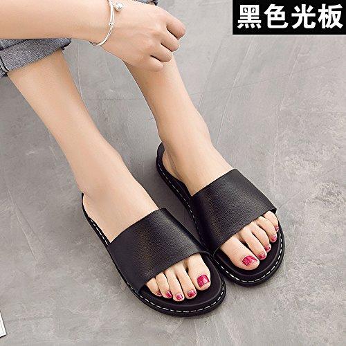 ZPPZZP Ms sandali pantofole indossa selvatici piana scanalata stile Coreano 37EU nero